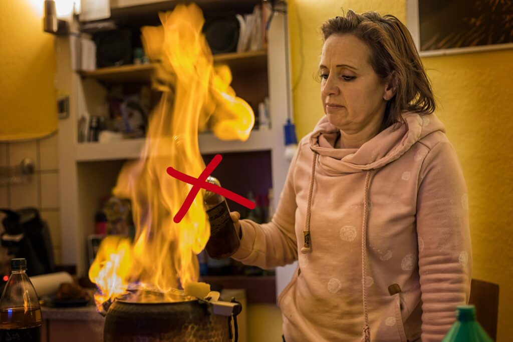 Woman Pouring Wine Over Flame