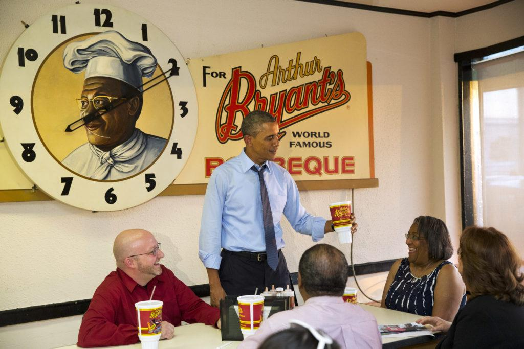 President Barak Obama At Arthurs Bryant